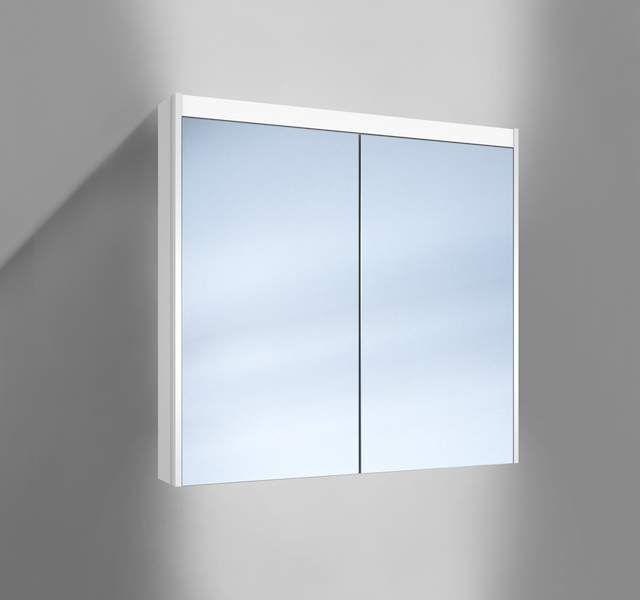 Schneider O-Line LED Spiegelschrank B:80xH:74,5xT:12,8cm 2 Türen weiß 164.080.02.02