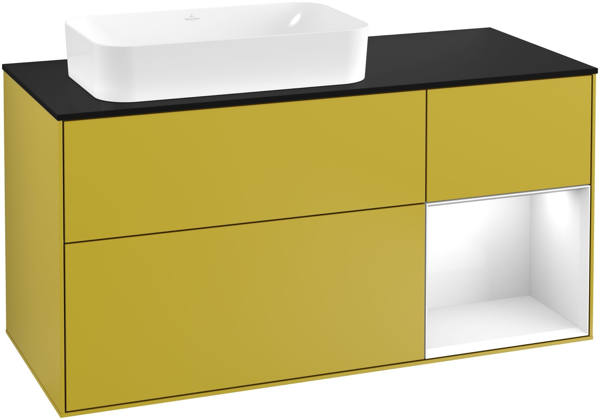 Villeroy & Boch Finion G28 Waschtischunterschrank mit Regalelement 3 Auszüge Waschtisch links LED-Beleuchtung B:120xH:60,3xT:50,1cm Front, Korpus: Sun, Regal: Glossy White Lack, Glasplatte: Black Matt G282GFHE