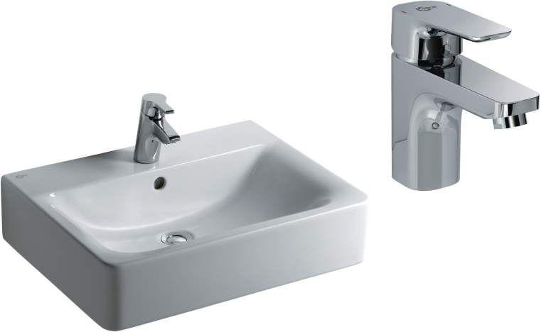 Ideal Standard Ceraplan Connect Waschtisch-Paket B:60xT:46cm mit Überlauf und CeraPlan Armatur mittig weiß E714101 E070301