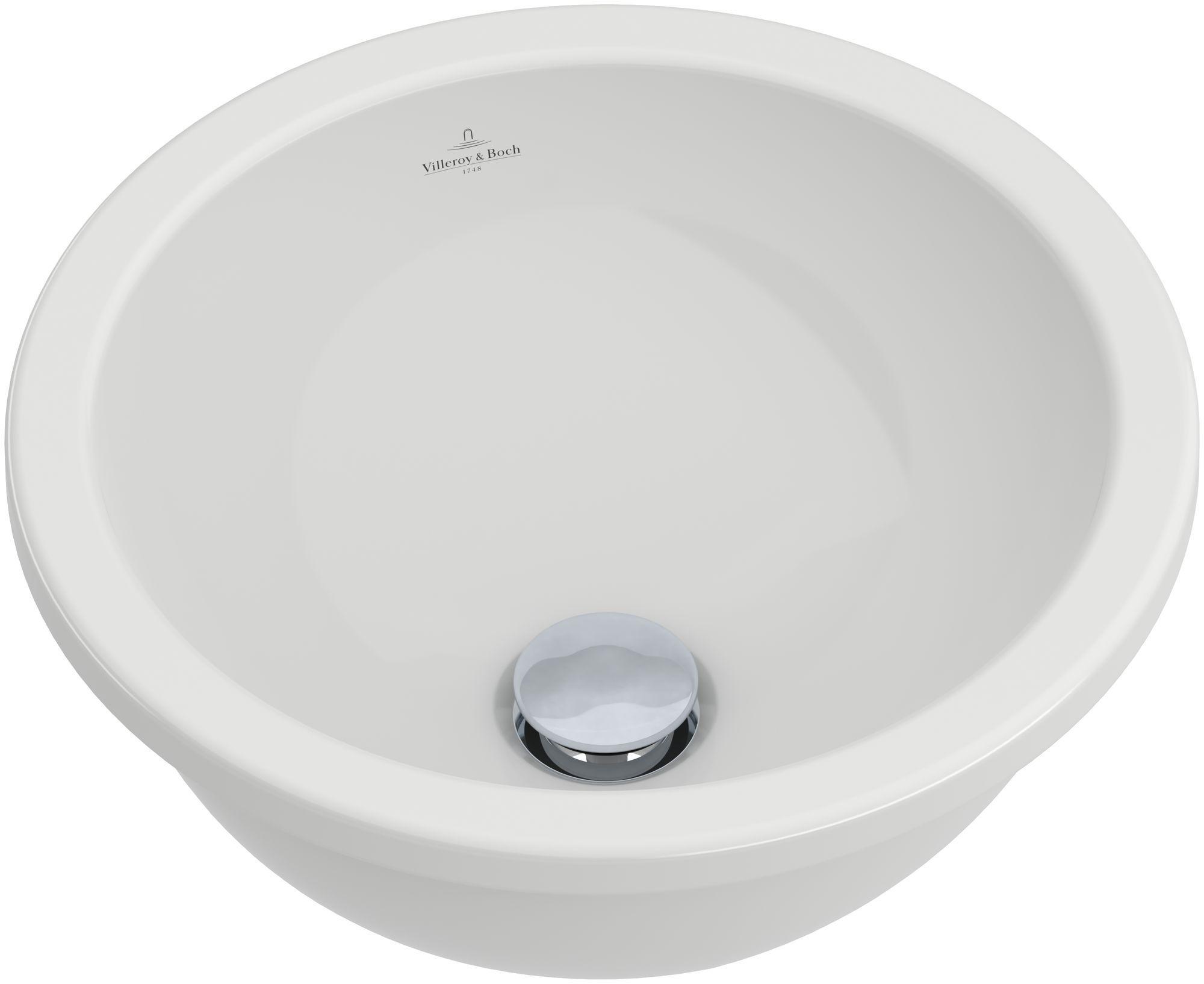 Villeroy & Boch Loop & Friends Einbauwaschtisch rund DM:39cm ohne Hahnloch mit Überlauf weiß mit Ceramicplus 614039R1