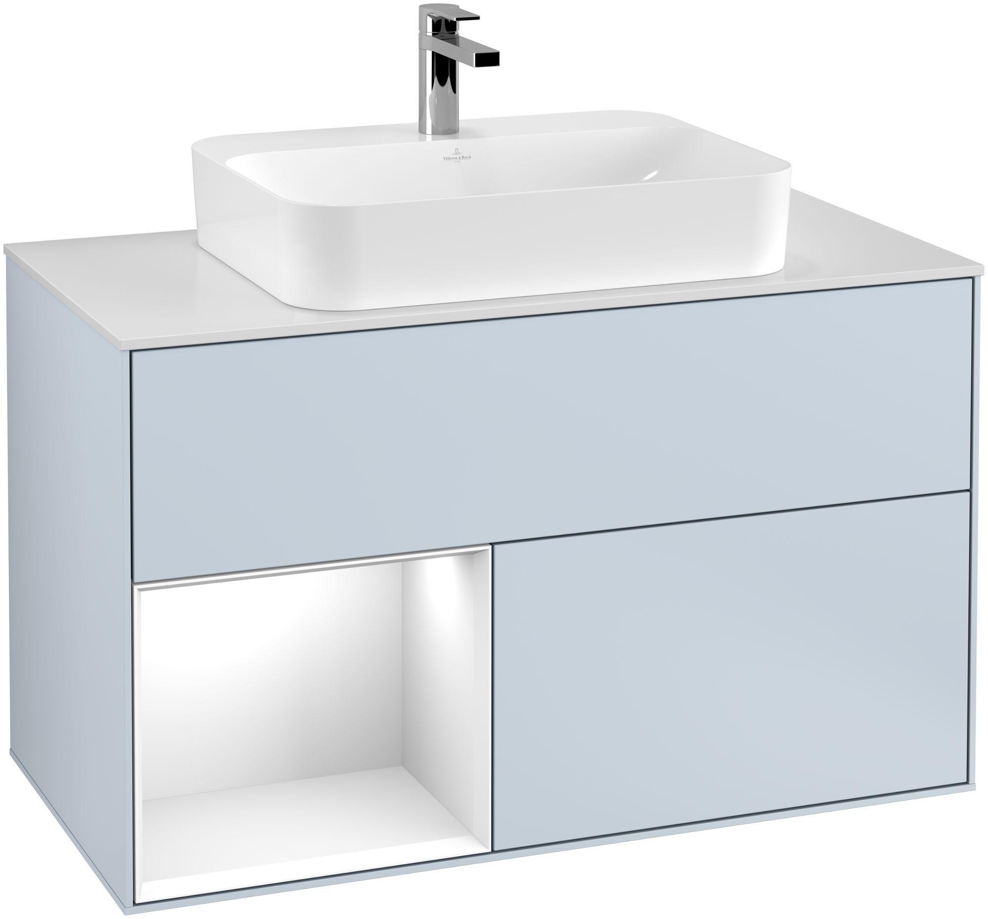 Villeroy & Boch Finion G36 Waschtischunterschrank mit Regalelement 2 Auszüge für WT mittig LED-Beleuchtung B:100xH:60,3xT:50,1cm Front, Korpus: Cloud, Regal: Glossy White Lack, Glasplatte: White Matt G361GFHA