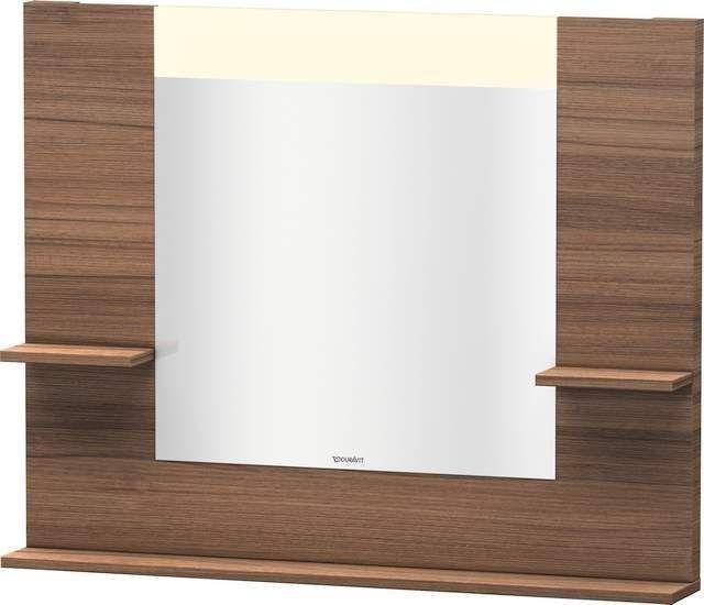 Duravit Vero Spiegel mit LED-Beleuchtung B:100xH:80xT:14,2cm mit Ablagen rechts links und unten Nussbaum natur VE735107979