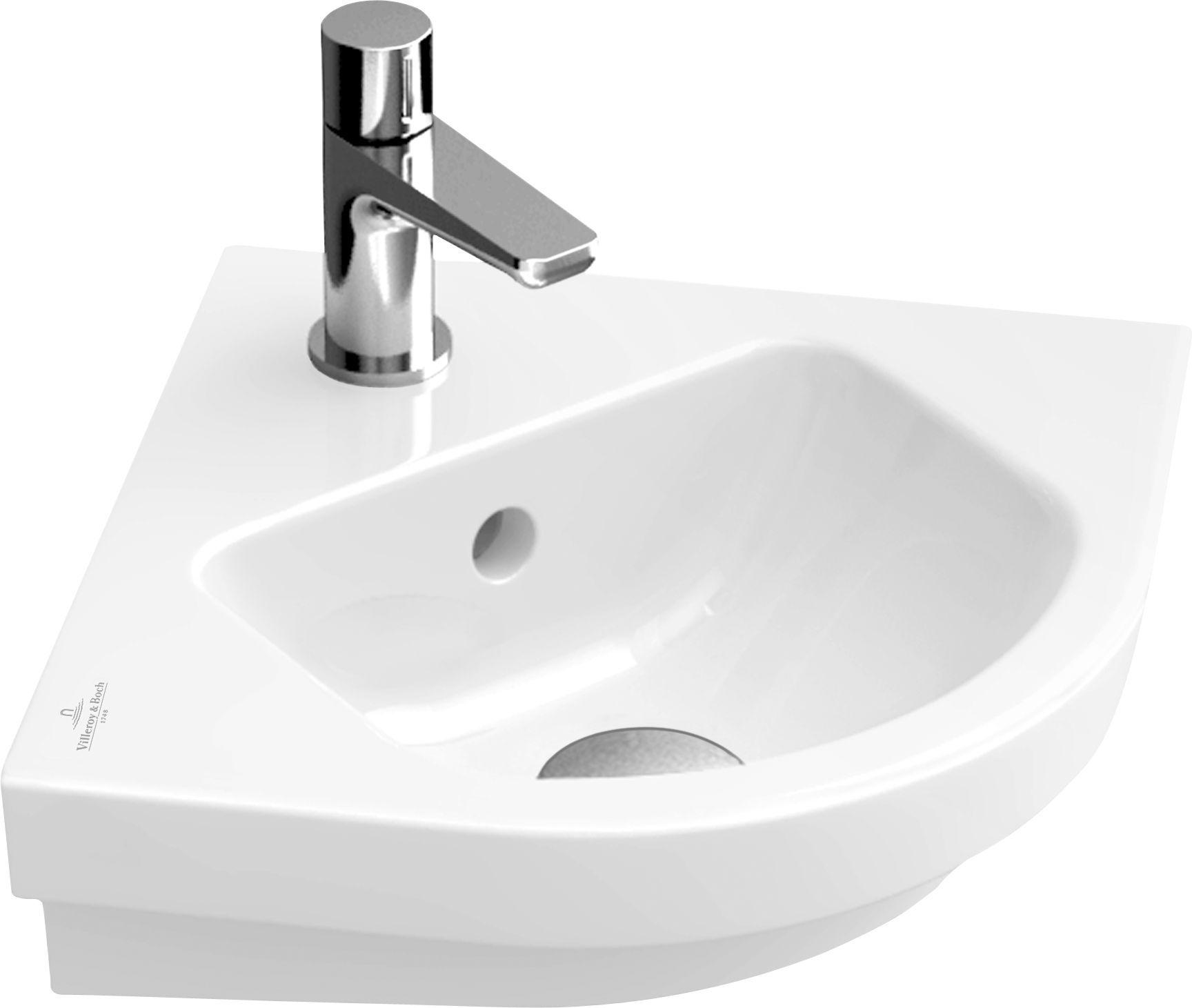 Villeroy & Boch Subway 2.0 Eck-Handwaschbecken B:32xT:32cm 1 Hahnloch mit Überlauf weiß mit Ceramicplus 731945R1