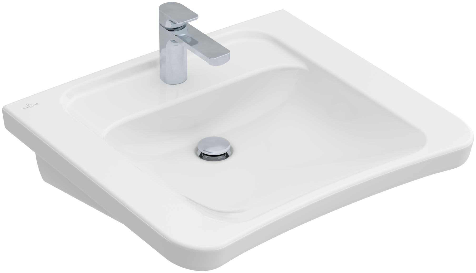 Villeroy & Boch Architectura Waschtisch B:60,5xT:55xH:21cm 1 Hahnloch ohne Überlauf unterfahrbar weiß mit Ceramicplus 517868R1