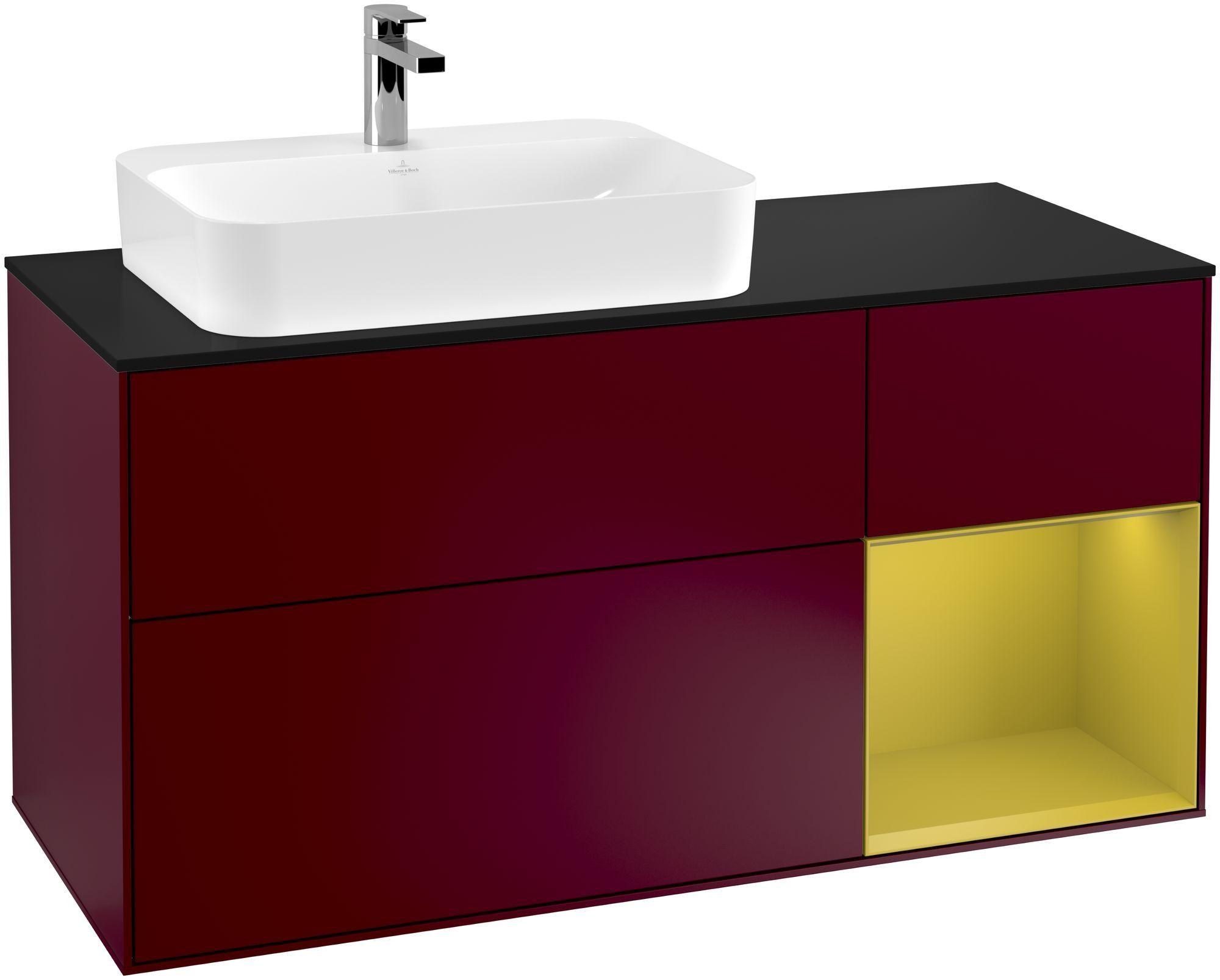 Villeroy & Boch Finion F40 Waschtischunterschrank mit Regalelement 3 Auszüge Waschtisch links LED-Beleuchtung B:120xH:60,3xT:50,1cm Front, Korpus: Peony, Regal: Sun, Glasplatte: Black Matt F402HEHB
