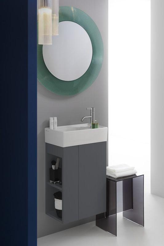 Laufen by Kartell Handwaschbecken ohne Hahnloch ohne Überlauf Armaturenbank rechts B:46xT:28cm schwarz glänzend H8153340201121