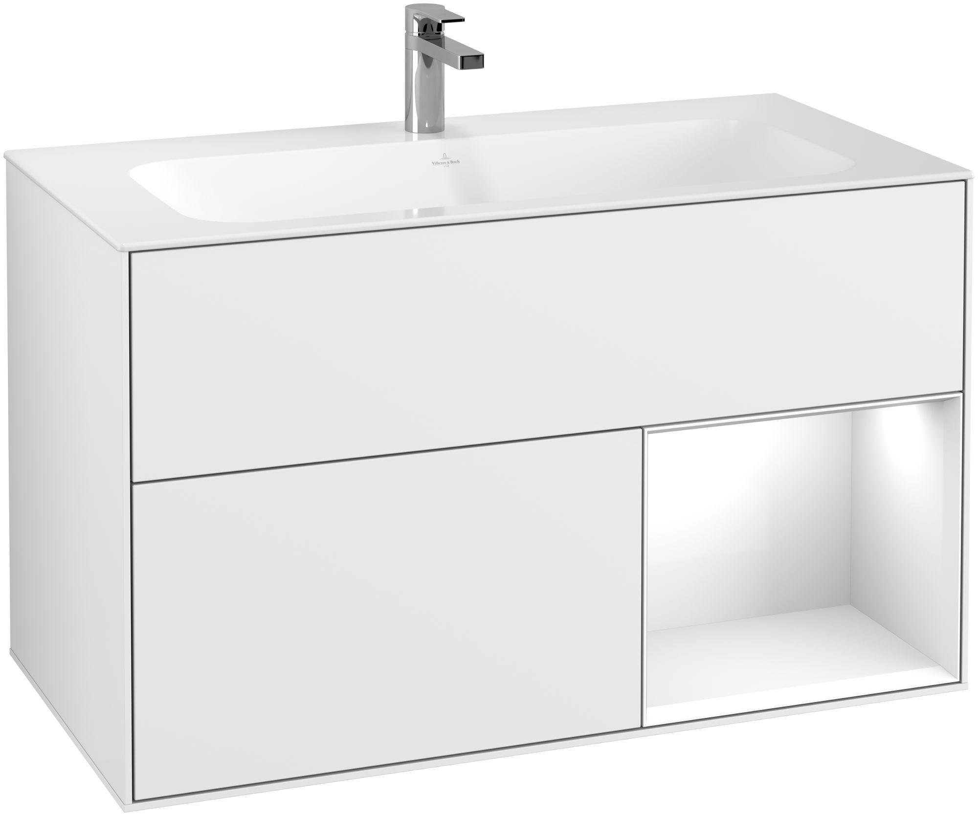 Villeroy & Boch Finion F04 Waschtischunterschrank mit Regalelement 2 Auszüge LED-Beleuchtung B:99,6xH:59,1xT:49,8cm Front, Korpus: Glossy White Lack F040GFGF