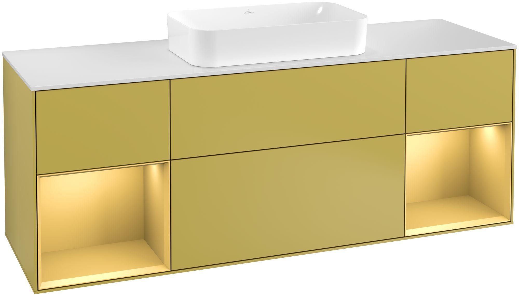 Villeroy & Boch Finion G33 Waschtischunterschrank mit Regalelement 4 Auszüge Waschtisch mittig LED-Beleuchtung B:160xH:60,3xT:50,1cm Front, Korpus: Sun, Regal: Gold Matt, Glasplatte: White Matt G331HFHE