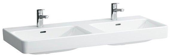 Laufen PRO S Doppelwaschtisch mit drei Hahnlöchern mit Überlauf B:120xT:46cm weiß mit CleanCoat LCC H8149664001081