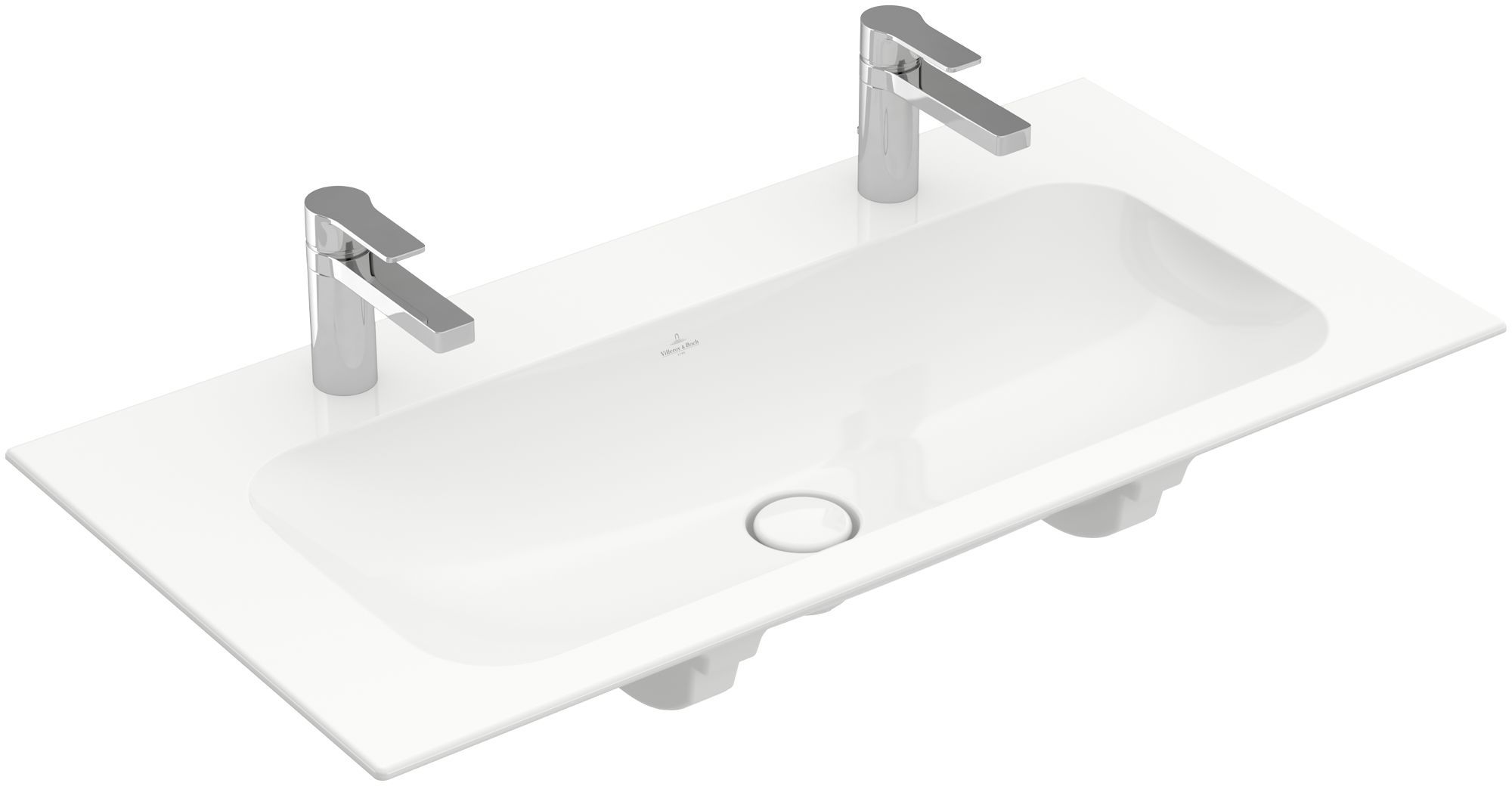 Villeroy & Boch Finion Schrankwaschtisch ohne Überlauf 2x1 Hahnloch B:100xT:50cm ohne Überlauf 2x1 Hahnloch weiß Ceramicplus 4164A1R1