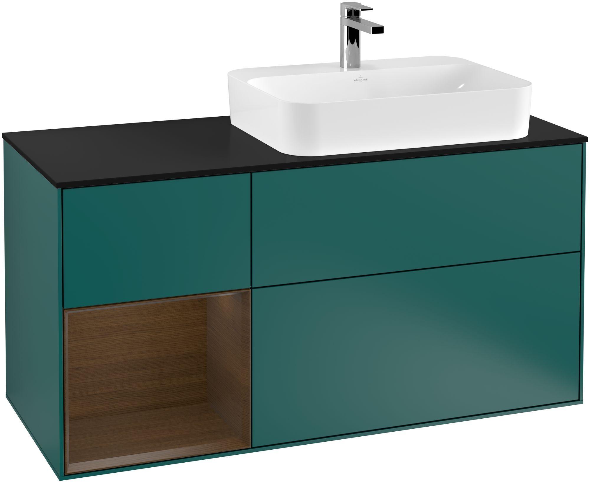 Villeroy & Boch Finion F39 Waschtischunterschrank mit Regalelement 3 Auszüge Waschtisch rechts LED-Beleuchtung B:120xH:60,3xT:50,1cm Front, Korpus: Cedar, Regal: Walnut Veneer, Glasplatte: Black Matt F392GNGS