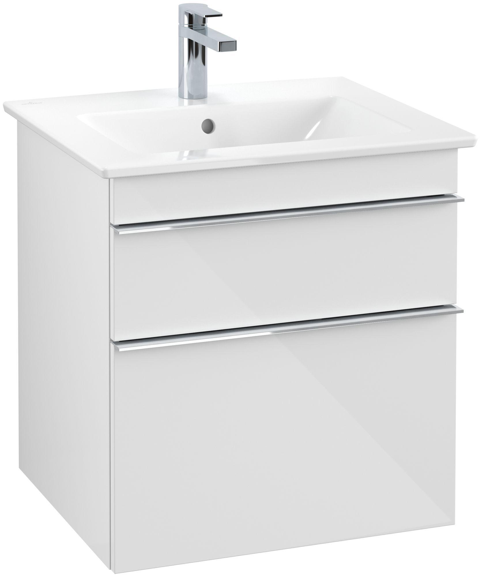 Villeroy & Boch Venticello Waschtischunterschrank 2 Auszüge B:553xT:502xH:590mm glossy weiß Griffe chrom A92301DH