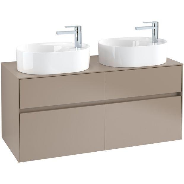 Villeroy & Boch Waschbeckenunterschrank Collaro C06000, 1200 x 548 x 500 mm, 4 Auszüge, für 2 Waschbecken, Glossy Grey C06000FP