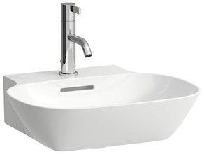 Laufen INO Aufsatz-Handwaschbecken mit einem Hahnloch mit Überlauf Unterseite geschliffen B:45xT:41cm weiß H8163000001041