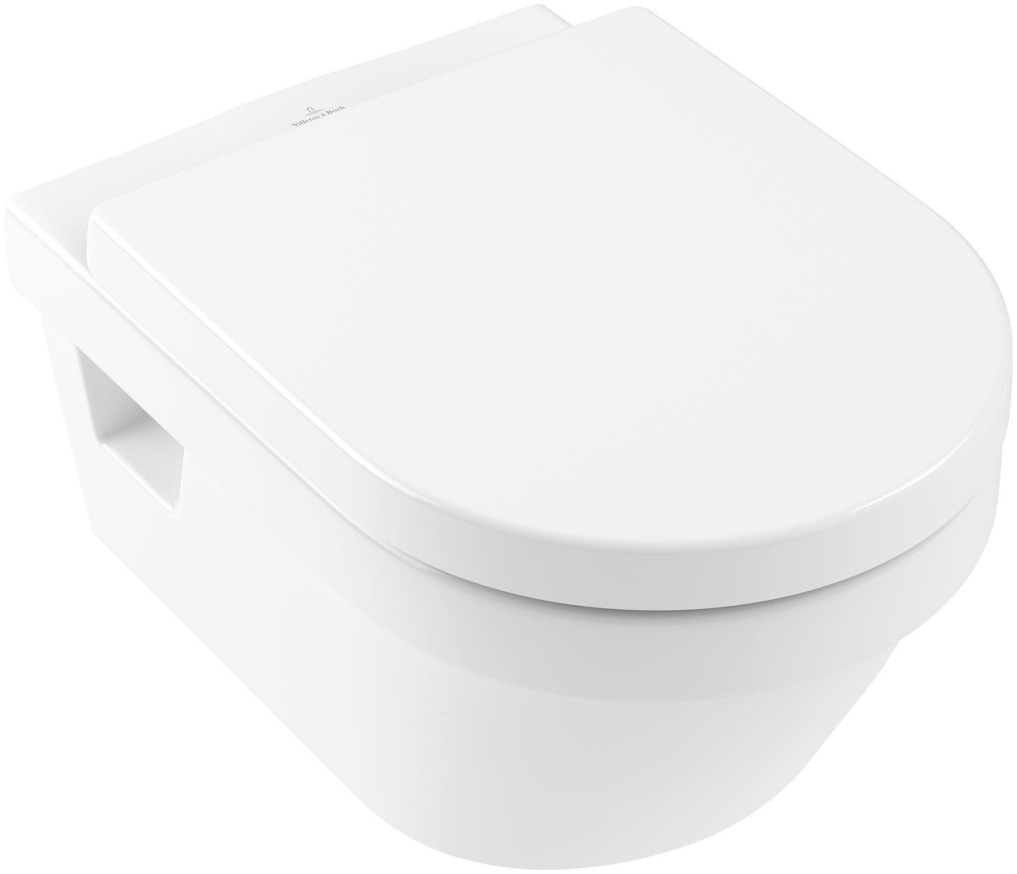 Villeroy & Boch Architectura Wand-Tiefspül-WC DirectFlush mit offenem Spülrand L:53xB:37cm Weiß Alpin mit CeramicPlus 5684R0R1