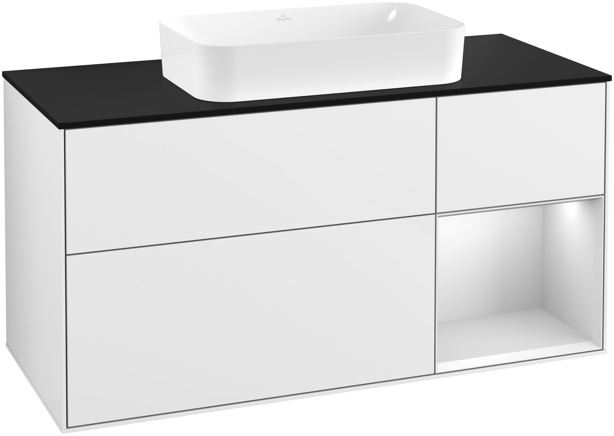Villeroy & Boch Finion F30 Waschtischunterschrank mit Regalelement 3 Auszüge Waschtisch mittig LED-Beleuchtung B:120xH:60,3xT:50,1cm Front, Korpus: Glossy White Lack, Regal: Weiß Matt Soft Grey, Glasplatte: Black Matt F302MTGF