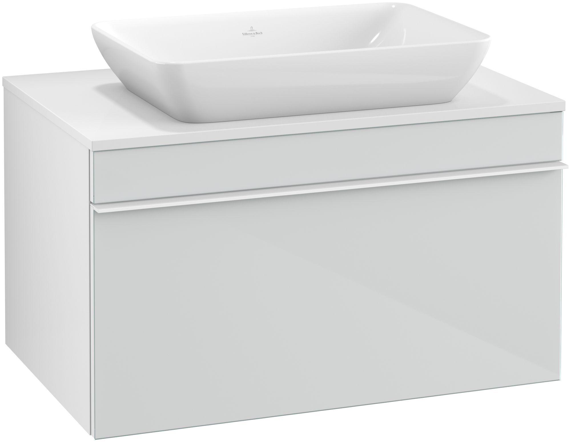 Villeroy & Boch Venticello Waschtischunterschrank für Waschtisch mittig 1 Auszug B:75,7xH:43,6xT:50,2cm Glas glossy white Griffe white Griffe weiß A94502RE