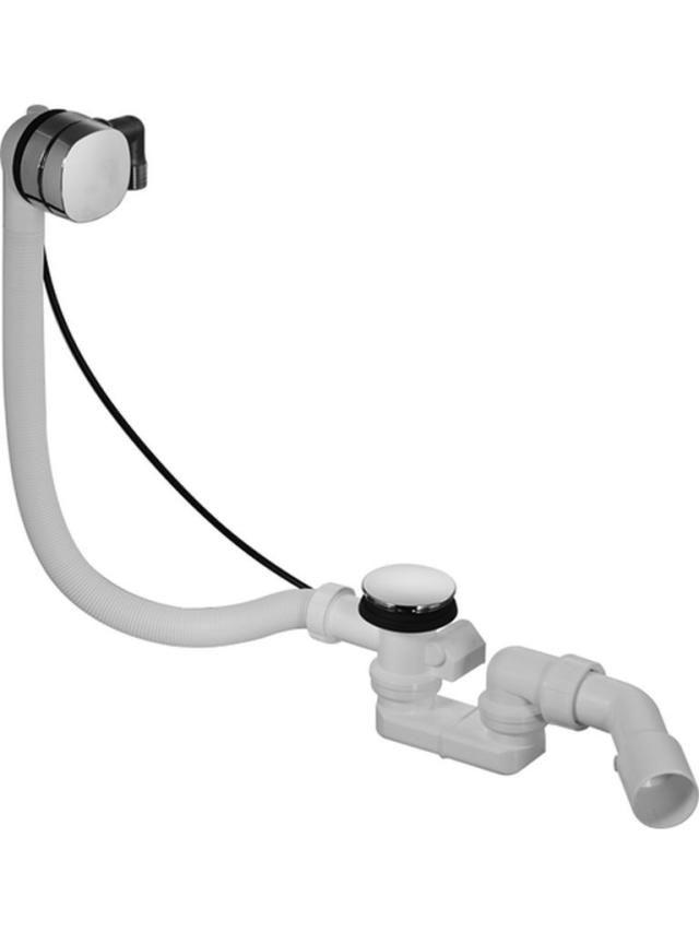 Duravit Happy D.2 Ab- und Überlaufgarnitur Quadroval mit Wanneneinlauf für Badewannen chrom 791222000001000