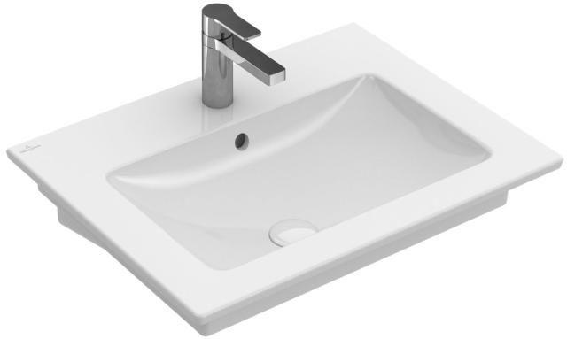 Villeroy & Boch Venticello Waschtisch B:65xT:50cm 1 Hahnloch mit Überlauf weiß 41246501