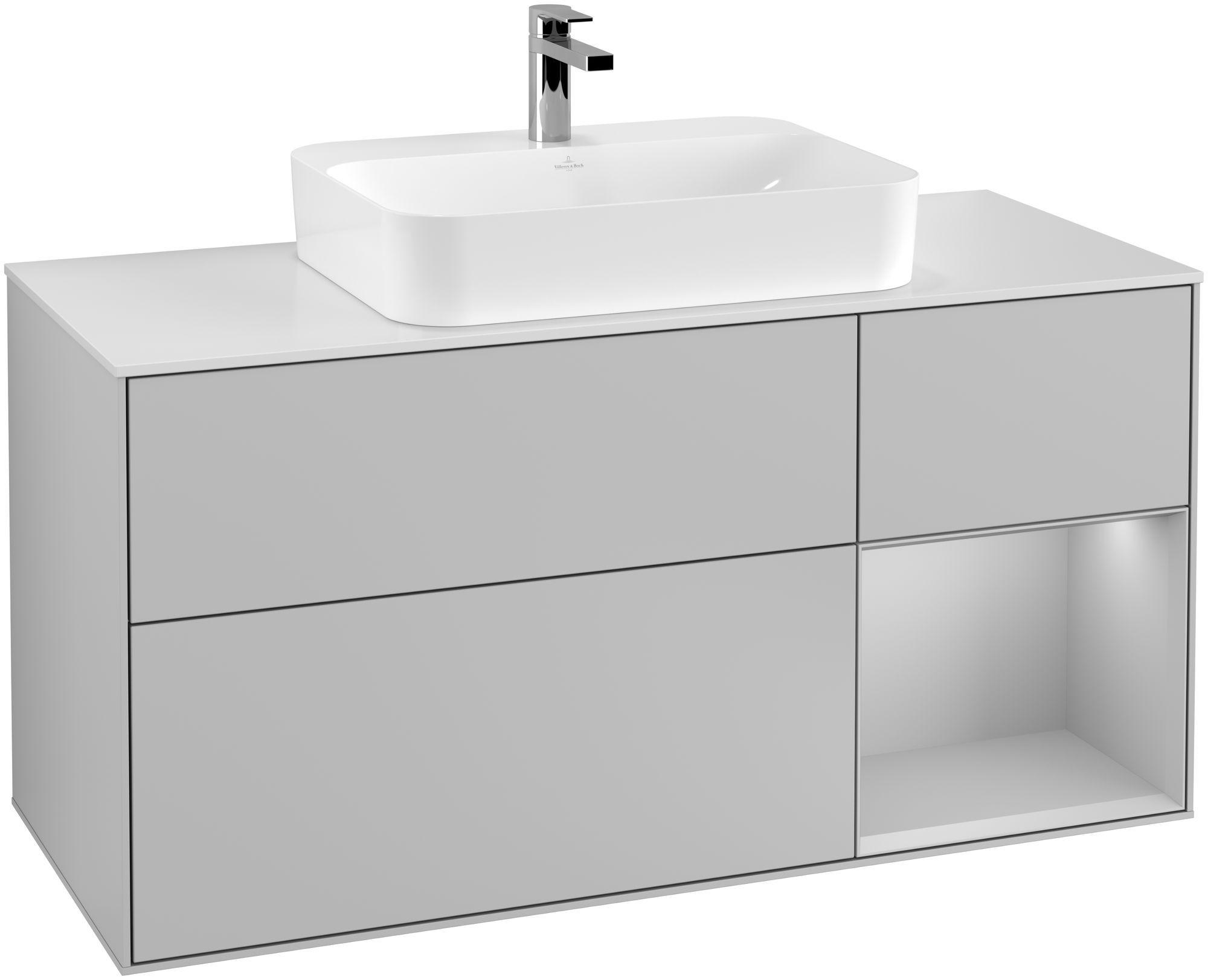 Villeroy & Boch Finion G42 Waschtischunterschrank mit Regalelement 3 Auszüge Waschtisch mittig LED-Beleuchtung B:120xH:60,3xT:50,1cm Front, Korpus: Light Grey Matt, Glasplatte: White Matt G421GJGJ