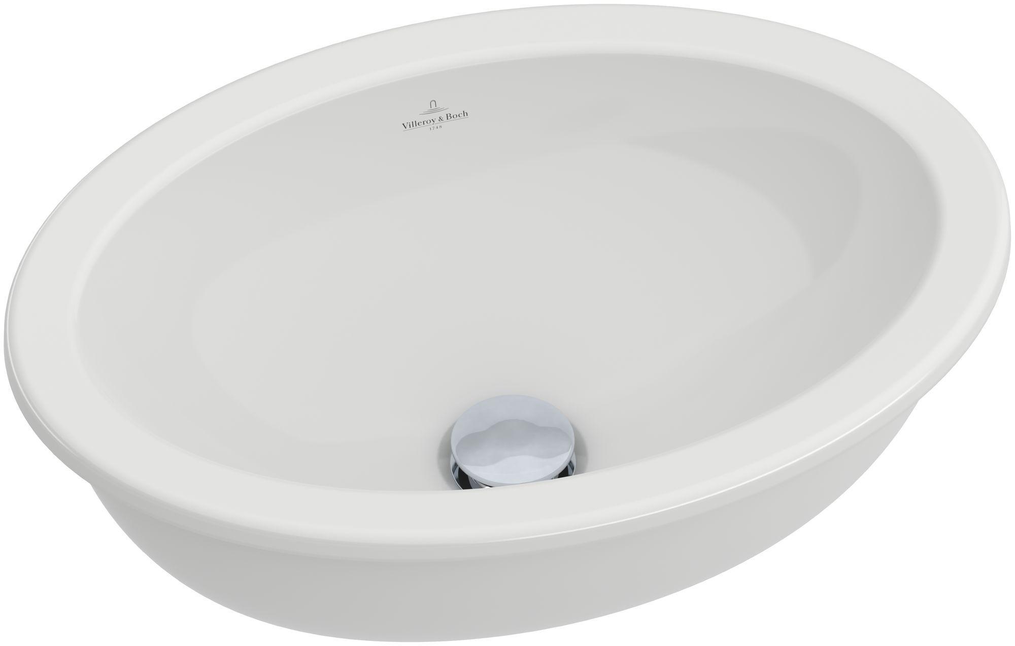 Villeroy & Boch Loop & Friends Unterbauwaschtisch B:42xT:28,5cm ohne Hahnloch mit Überlauf weiß mit Ceramicplus 616110R1