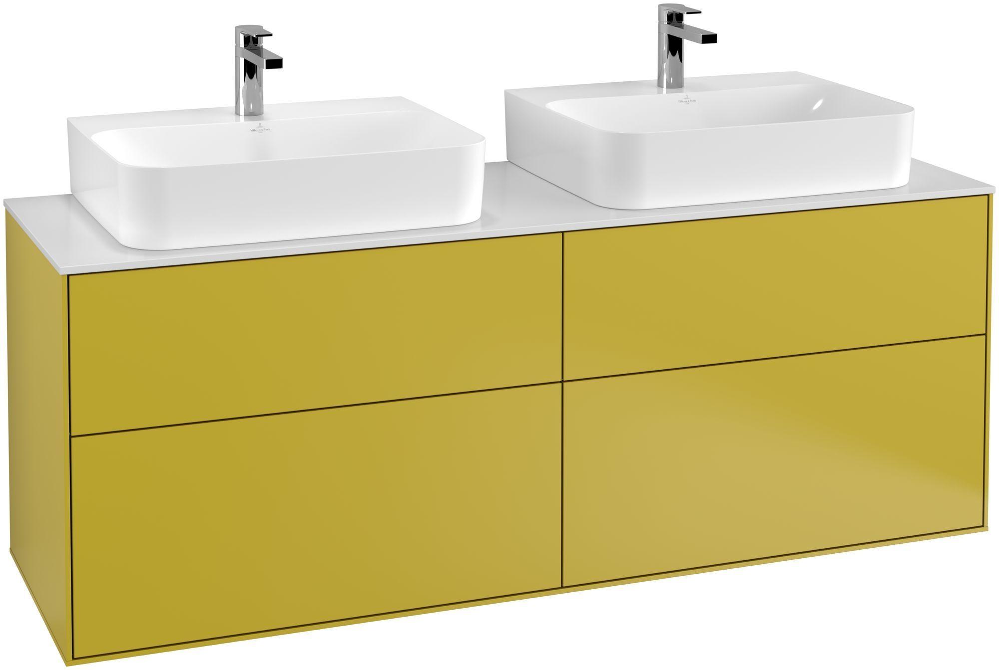 Villeroy & Boch Finion F18 Waschtischunterschrank 4 Auszüge B:160xH:60,3xT:50,1cm Front, Korpus: Sun, Glasplatte: White Matt F18100HE