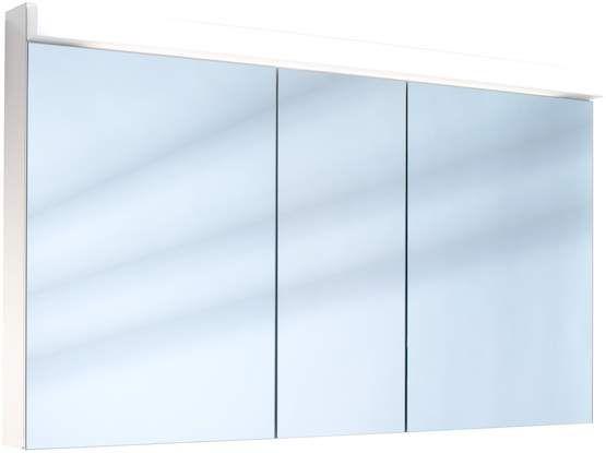 Schneider Lowline Spiegelschrank B:130xH:77xT:12cm 3 Türen weiß 151.130.02.02