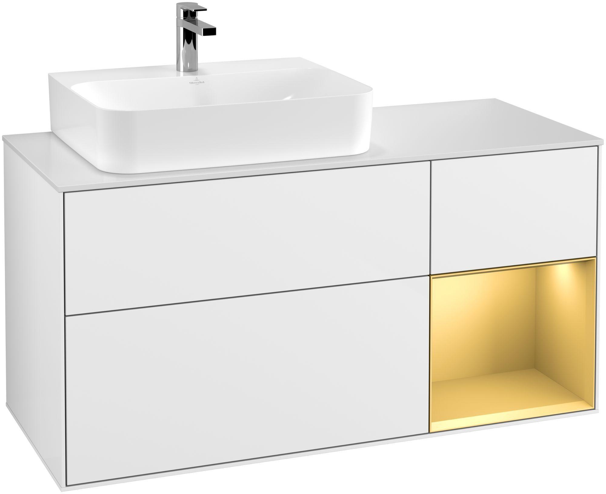 Villeroy & Boch Finion G15 Waschtischunterschrank mit Regalelement 3 Auszüge Waschtisch links LED-Beleuchtung B:120xH:60,3xT:50,1cm Front, Korpus: Glossy White Lack, Regal: Gold Matt, Glasplatte: White Matt G151HFGF