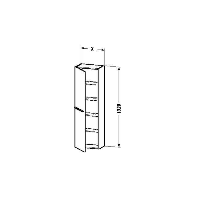 Duravit X-Large Hochschrank B:50xH:132xT:23,8 cm mit 1 Tür Türanschlag links flannel grey hochglanz XL1154L8989