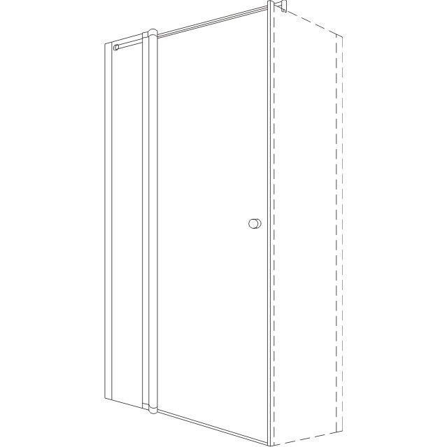 Koralle TwiggyPlus TPFBO 80 Pendeltür mit Festelement für Trennwand 77-81x200cm matt mit Glas Plus VZ15408320AP1