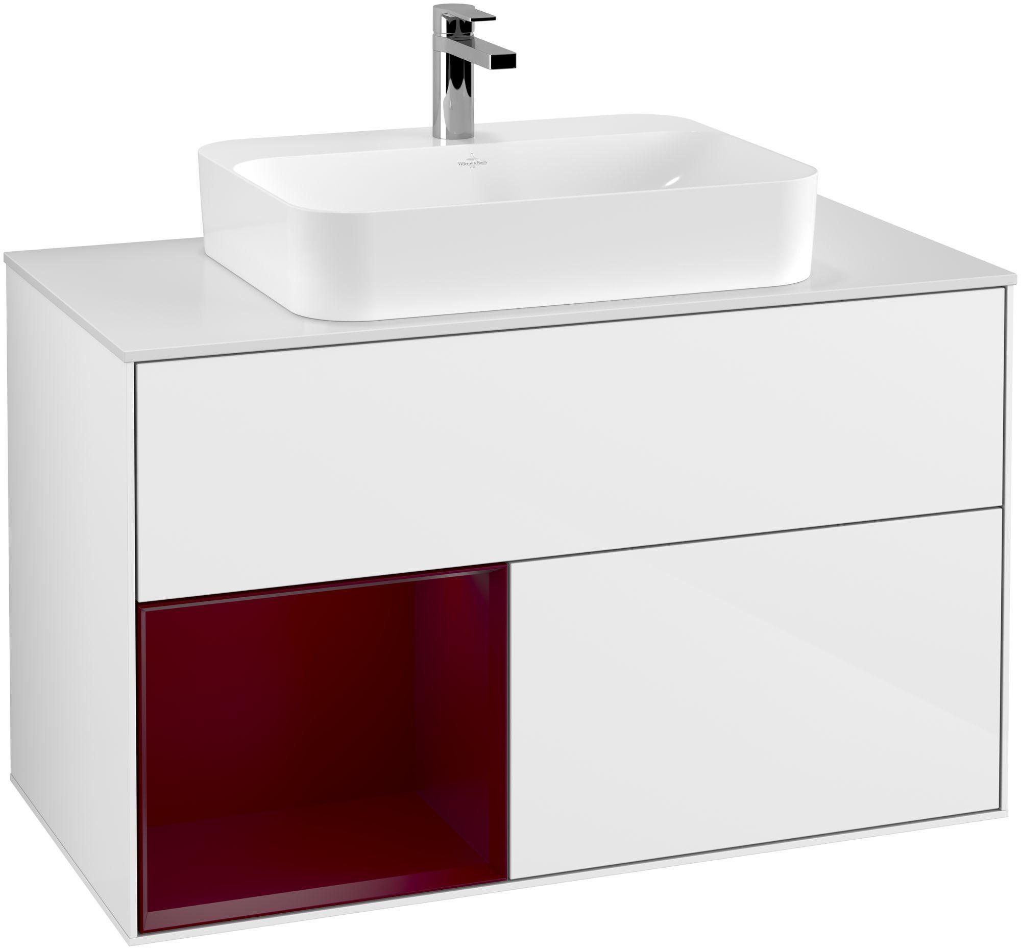 Villeroy & Boch Finion G36 Waschtischunterschrank mit Regalelement 2 Auszüge für WT mittig LED-Beleuchtung B:100xH:60,3xT:50,1cm Front, Korpus: Glossy White Lack, Regal: Peony, Glasplatte: White Matt G361HBGF