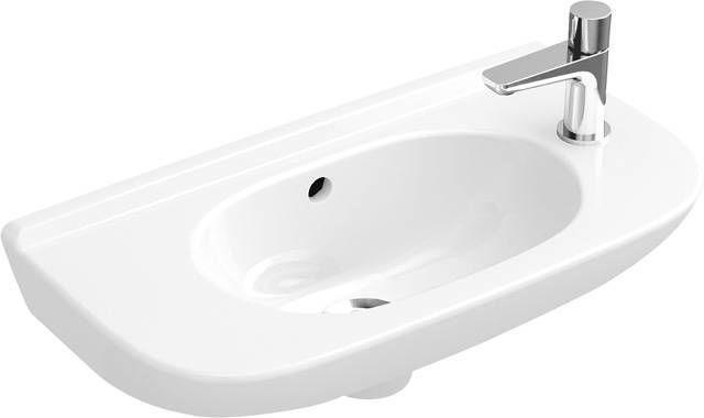 Villeroy & Boch O.novo Handwaschbecken B:50xT:25xH:17,5cm 1 Hahnlochvorstich rechts ohne Überlauf weiß mit AntiBac 536151T1