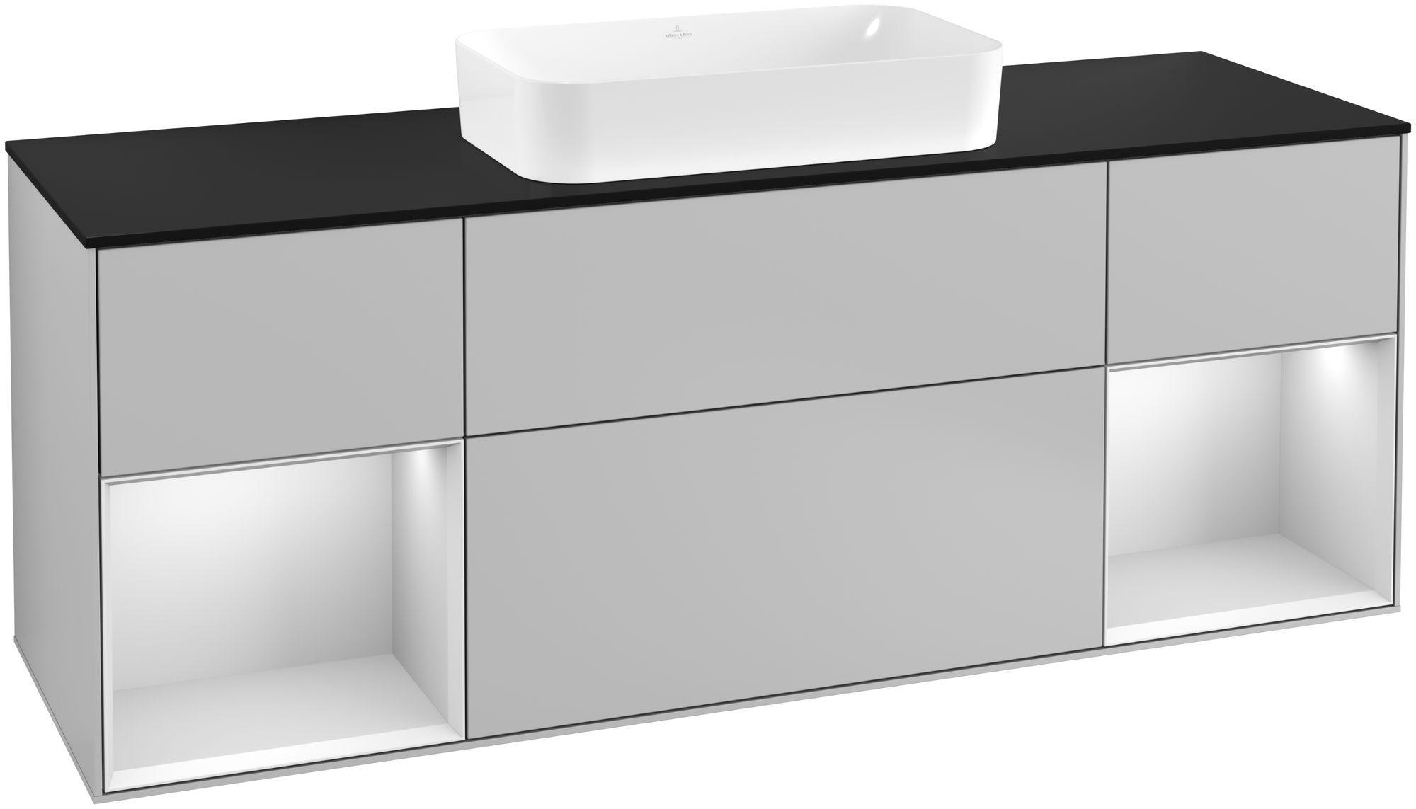 Villeroy & Boch Finion F33 Waschtischunterschrank mit Regalelement 4 Auszüge Waschtisch mittig LED-Beleuchtung B:160xH:60,3xT:50,1cm Front, Korpus: Light Grey Matt, Regal: Weiß Matt Soft Grey, Glasplatte: Black Matt F332MTGJ