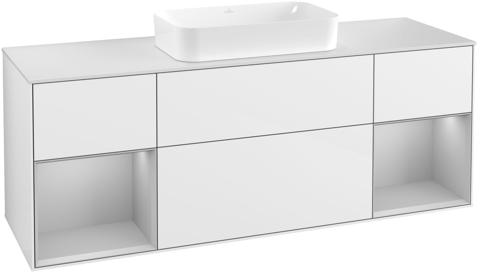 Villeroy & Boch Finion F33 Waschtischunterschrank mit Regalelement 4 Auszüge für WT mittig LED-Beleuchtung B:160xH:60,3xT:50,1cm Front, Korpus: Glossy White Lack, Regal: Light Grey Matt, Glasplatte: White Matt F331GJGF
