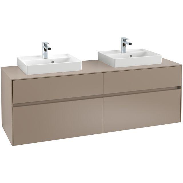 Villeroy & Boch Waschbeckenunterschrank Collaro C02100, 1600 x 548 x 500 mm, 4 Auszüge, für 2 Waschbecken, Glossy Grey C02100FP