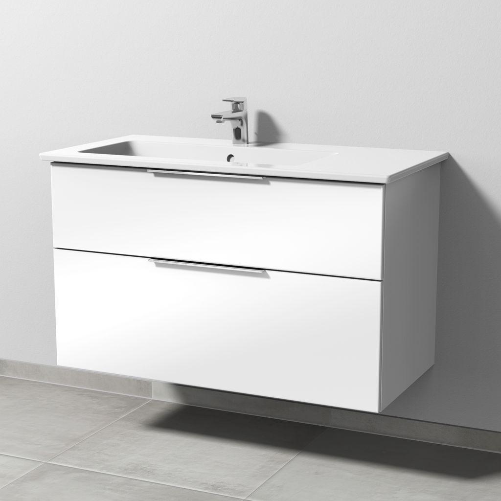 Sanipa 3way Set Keramik-Waschtisch (UM325) H:59,1xB:95,5xT:47,7cm Weiß-Soft UM32543