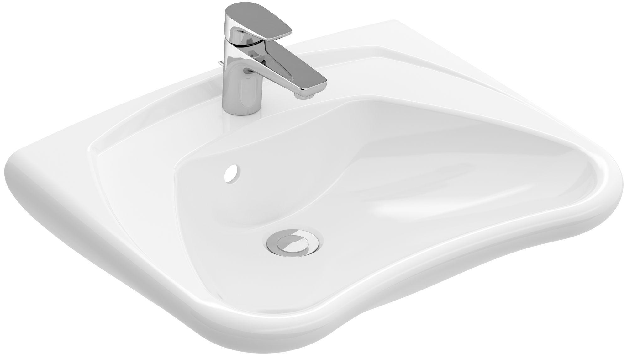 Villeroy & Boch O.novo Vita Waschtisch B:60xT:49cm 1 Hahnloch mit Überlauf unterfahrbar weiß mit Ceramicplus 711963R1