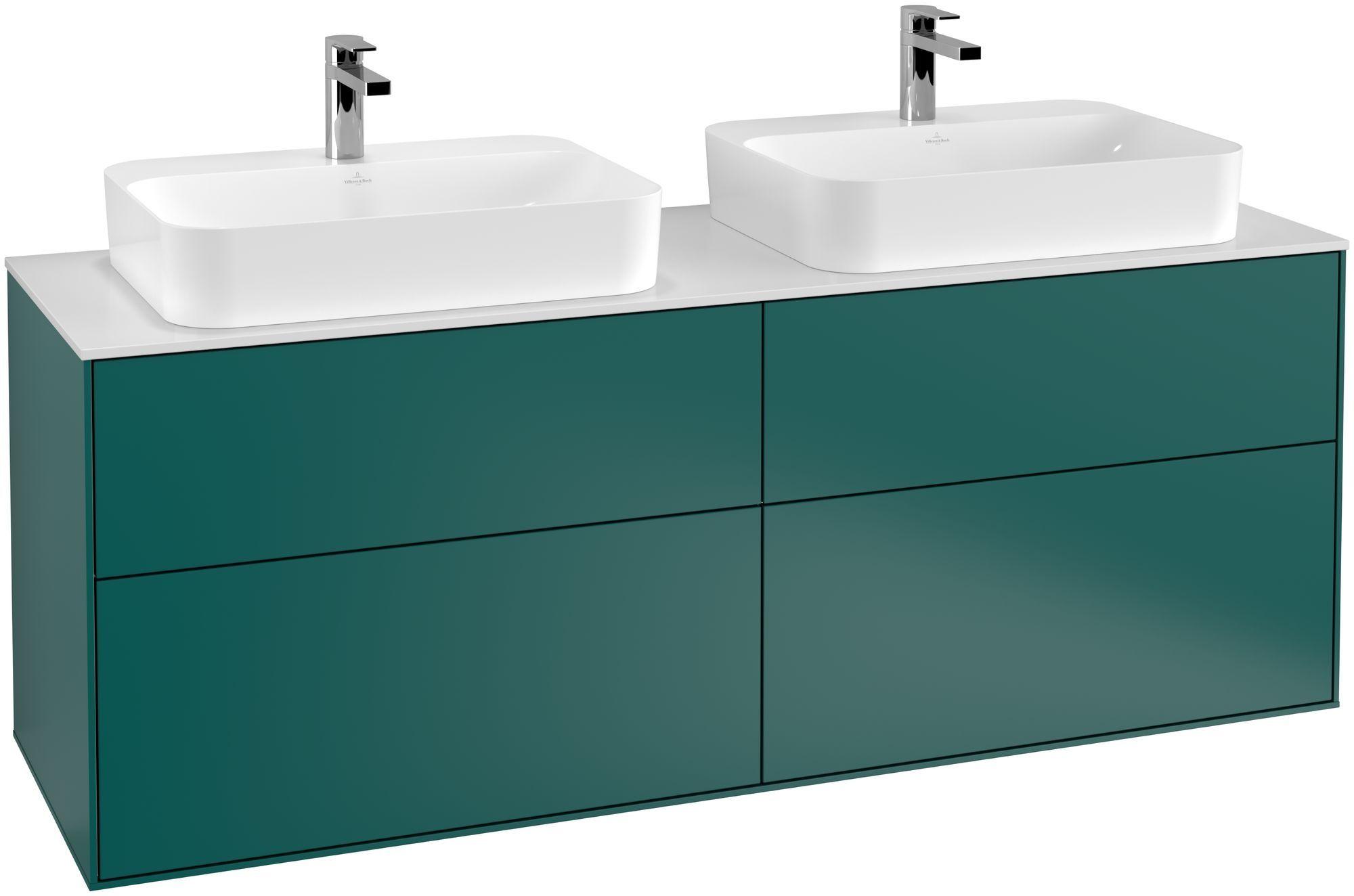 Villeroy & Boch Finion G43 Waschtischunterschrank 4 Auszüge LED-Beleuchtung B:160xH:60,3xT:50,1cm Front, Korpus: Cedar, Glasplatte: White Matt G43100GS