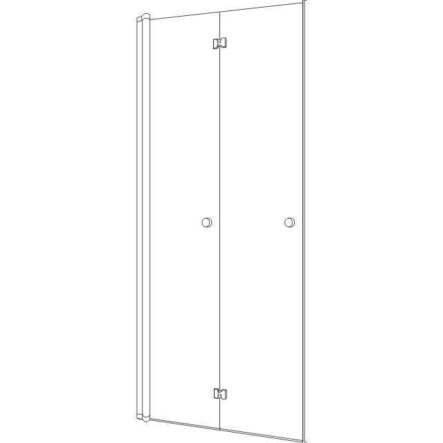 Koralle TwiggyPlus NFT 80 Falttür für Nische oder Trennwand 77-81x185cm für Fronteinstieg Silber matt mit Glas Plus VZ16208018AP1