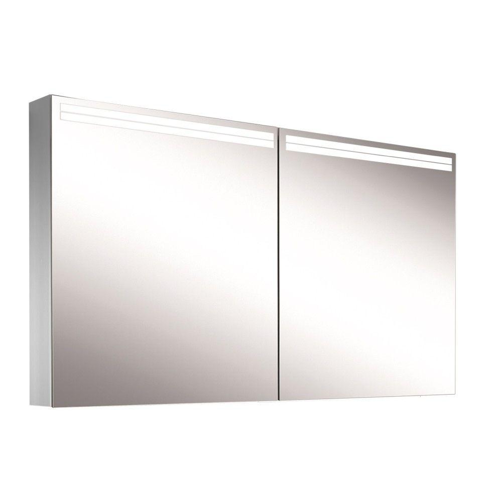 Schneider Spiegelschrank ARANGA Line 140/2/TW B:140xH:70xT:12cm mit Beleuchtung mit Accessoire-Box und Kosmetikspiegel eloxiert 160.540.02.50