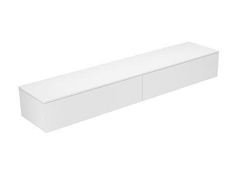 Keuco Edition 400 Sideboard wandhängend 2 Frontauszüge 2100 x 289 x 450 mm weiß/Glas trüffel satiniert 31771730001