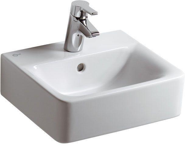 Ideal Standard Contour 21 Handwaschbecken B:40xT:36cm 1 Hahnloch mittig mit Überlauf weiß mit Ideal Plus E7137MA