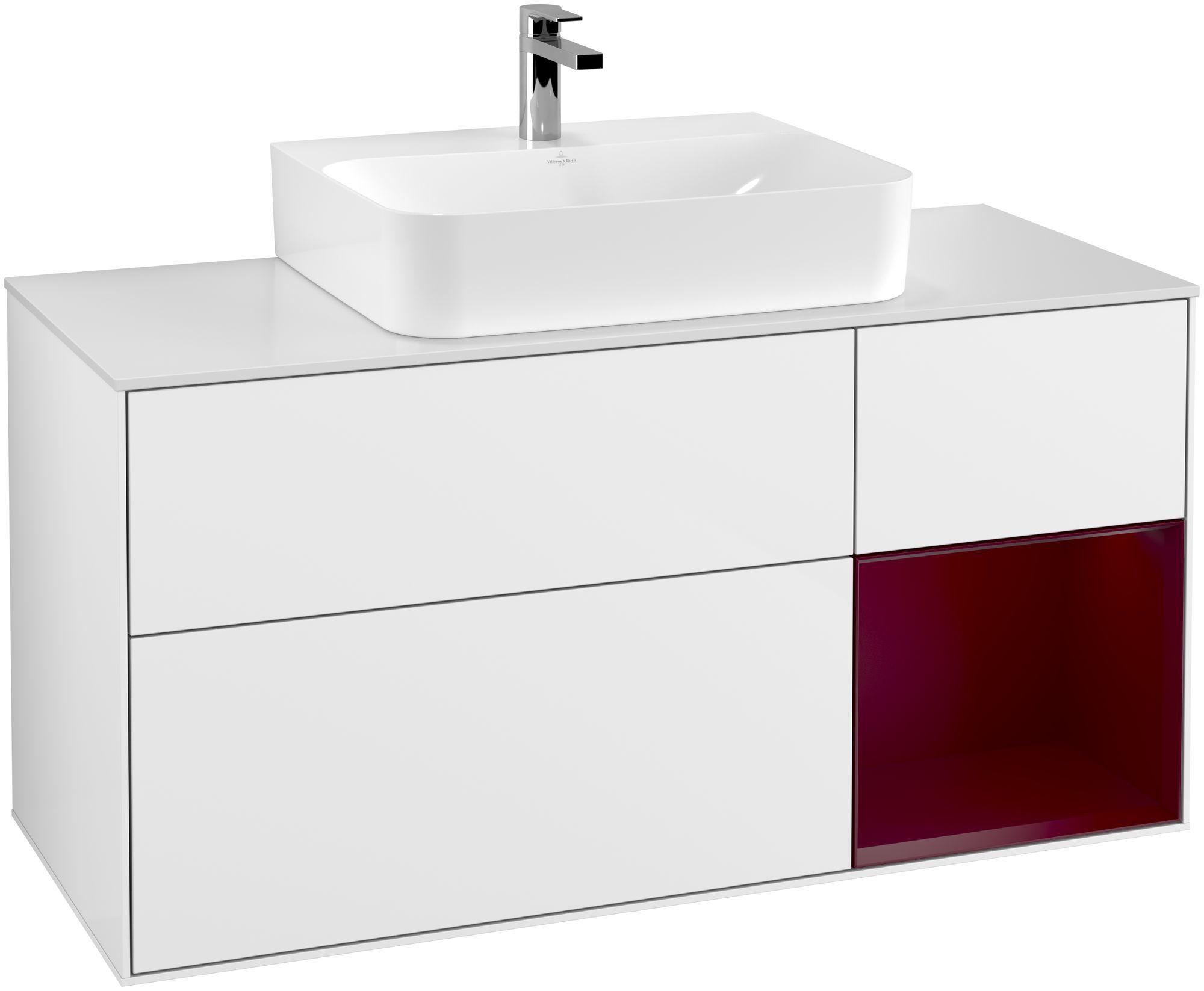 Villeroy & Boch Finion G17 Waschtischunterschrank mit Regalelement 3 Auszüge Waschtisch mittig LED-Beleuchtung B:120xH:60,3xT:50,1cm Front, Korpus: Glossy White Lack, Regal: Peony, Glasplatte: White Matt G171HBGF