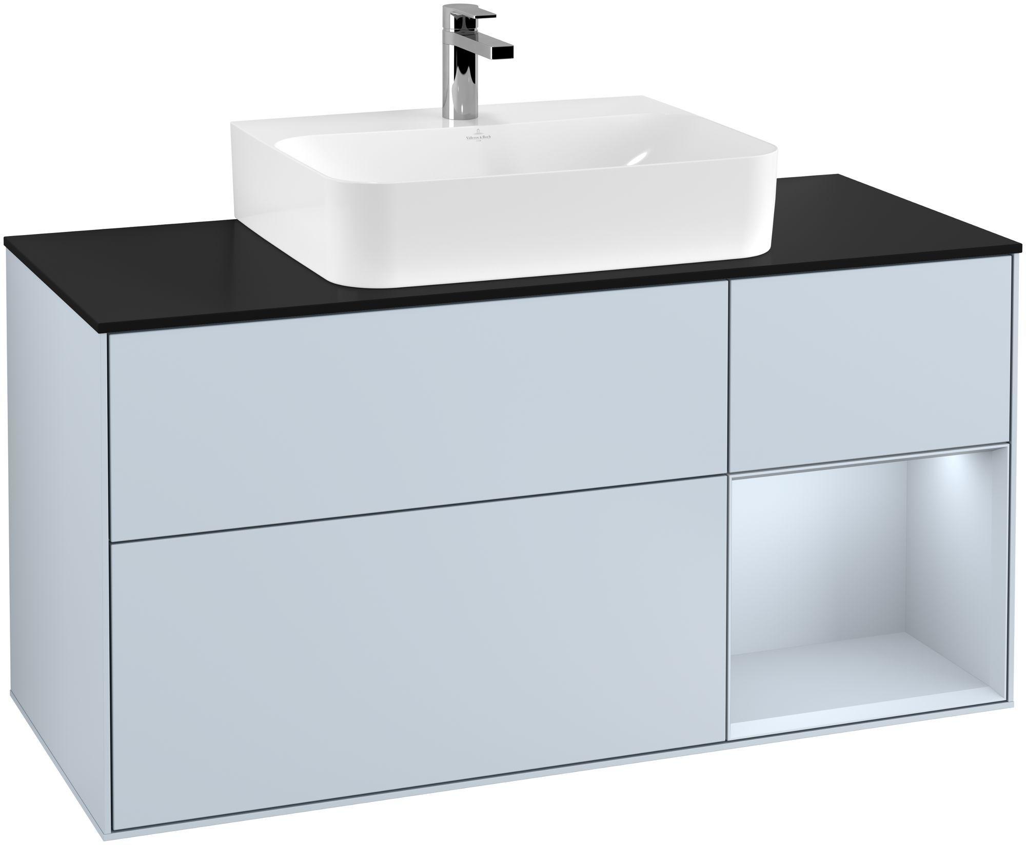 Villeroy & Boch Finion G17 Waschtischunterschrank mit Regalelement 3 Auszüge Waschtisch mittig LED-Beleuchtung B:120xH:60,3xT:50,1cm Front, Korpus: Cloud, Glasplatte: Black Matt G172HAHA