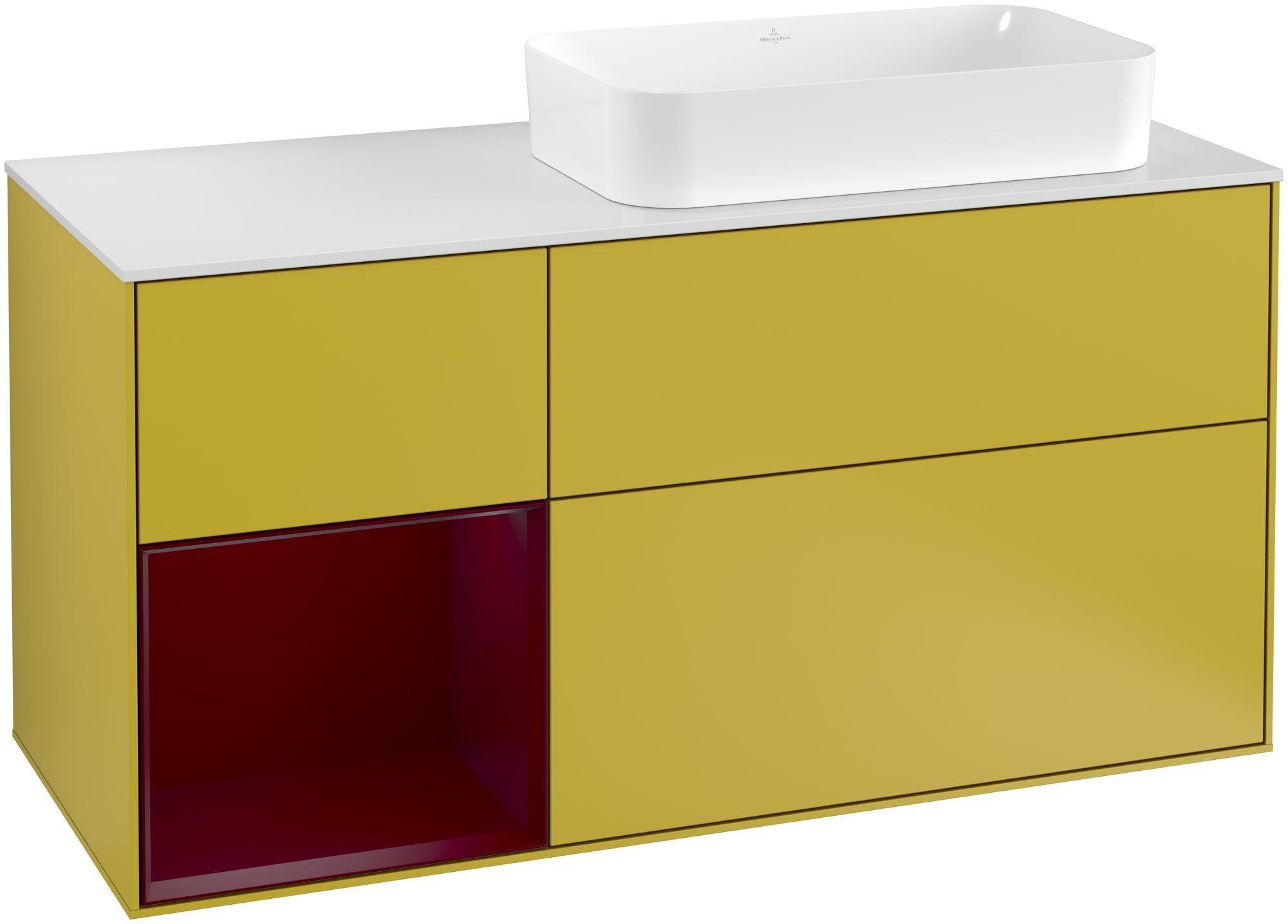 Villeroy & Boch Finion G27 Waschtischunterschrank mit Regalelement 3 Auszüge Waschtisch rechts LED-Beleuchtung B:120xH:60,3xT:50,1cm Front, Korpus: Sun, Regal: Peony, Glasplatte: White Matt G271HBHE
