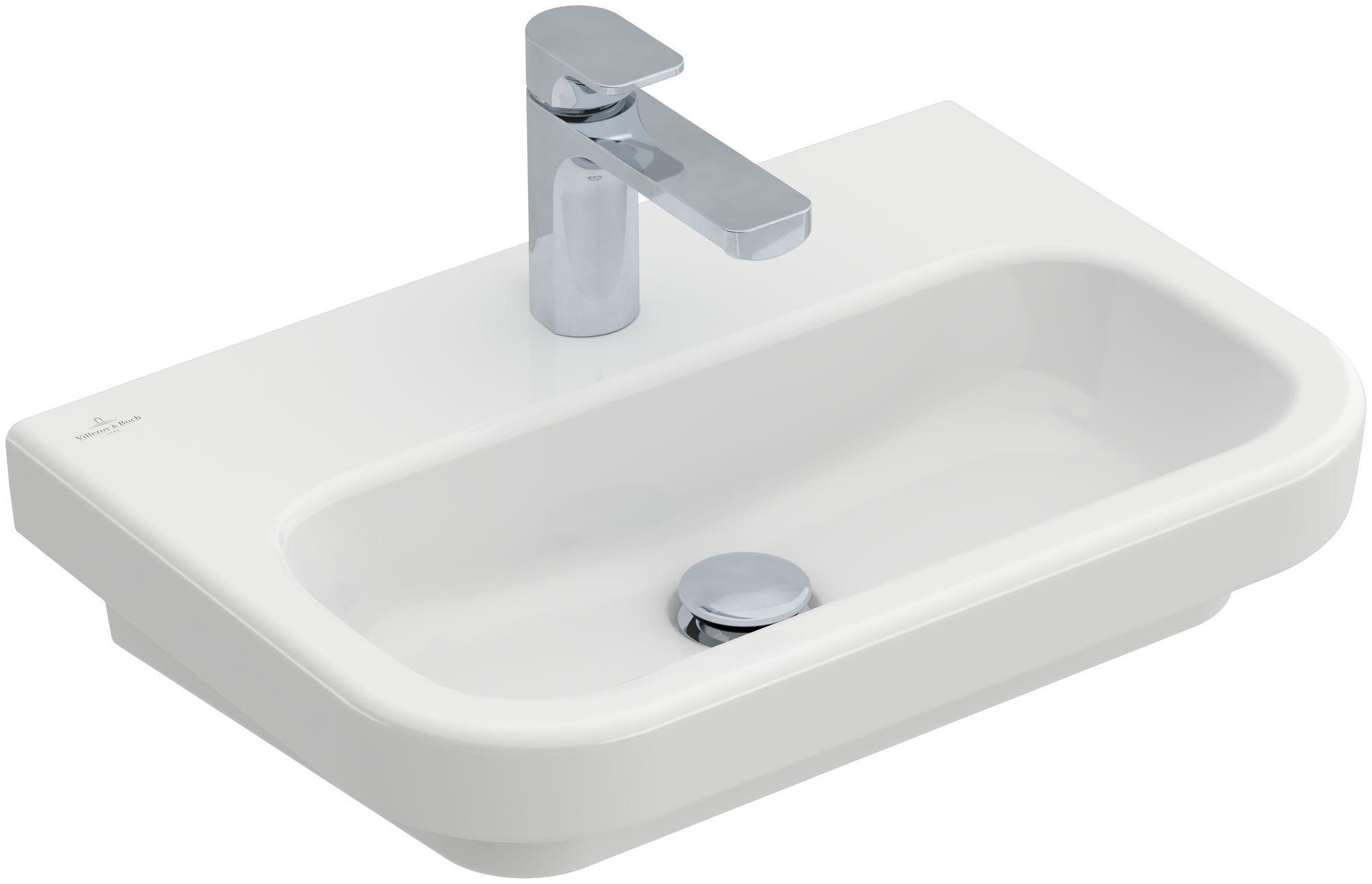 Villeroy & Boch Architectura Compact Waschtisch B:55xT:38cm mit 1 Hahnloch ohne Überlauf weiß mit CeramicPlus 418956R1