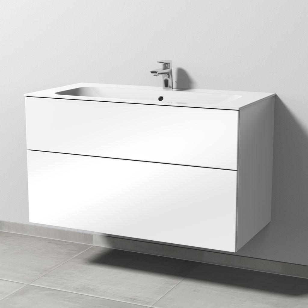 Sanipa 3way Waschtischunterbau mit Auszügen (SF401) H:58,2xB:99xL:49,7cm Weiß-Glanz SF40178