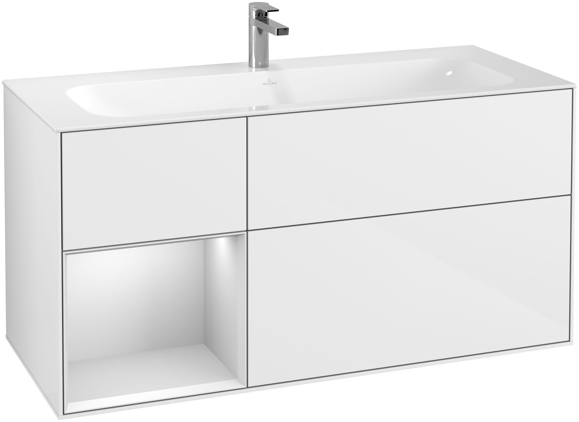 Villeroy & Boch Finion G06 Waschtischunterschrank mit Regalelement 3 Auszüge LED-Beleuchtung B:119,6xH:59,1xT:49,8cm Front, Korpus: Glossy White Lack, Regal: Weiß Matt Soft Grey G060MTGF
