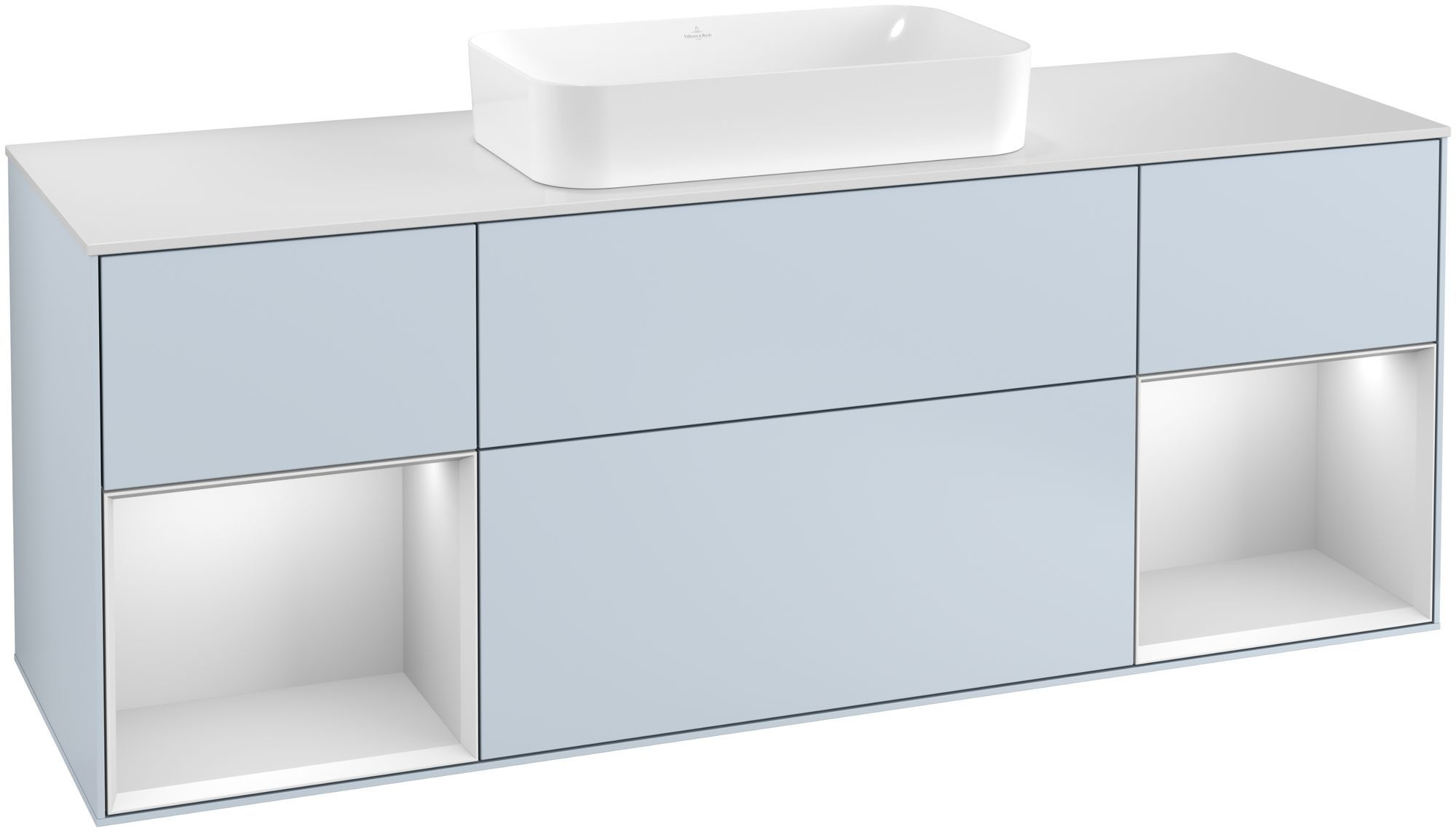 Villeroy & Boch Finion G33 Waschtischunterschrank mit Regalelement 4 Auszüge Waschtisch mittig LED-Beleuchtung B:160xH:60,3xT:50,1cm Front, Korpus: Cloud, Regal: Weiß Matt Soft Grey, Glasplatte: White Matt G331MTHA