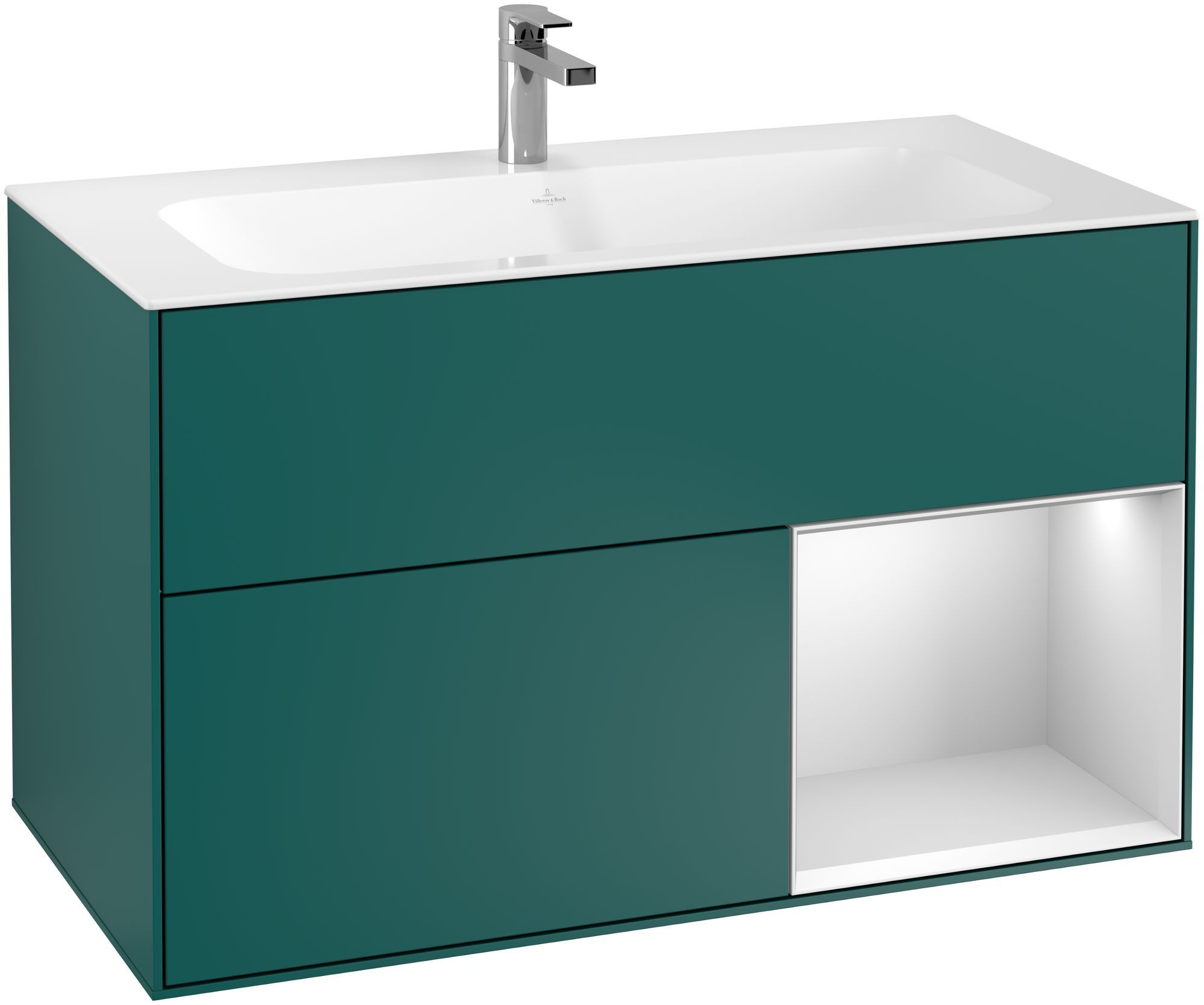 Villeroy & Boch Finion F04 Waschtischunterschrank mit Regalelement 2 Auszüge LED-Beleuchtung B:99,6xH:59,1xT:49,8cm Front, Korpus: Cedar, Regal: Weiß Matt Soft Grey F040MTGS